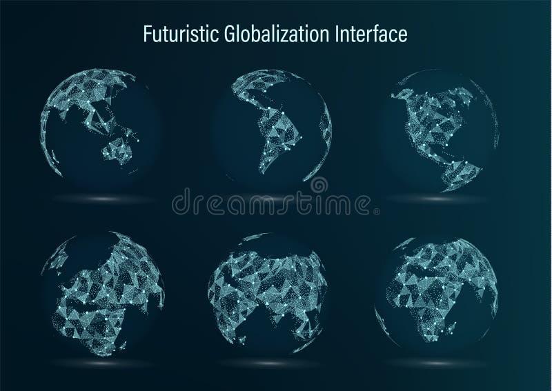 Grupo do ponto do mapa do mundo America do Norte sul África Ásia europa Austrália e Oceania Ilustração do vetor futuristic ilustração royalty free
