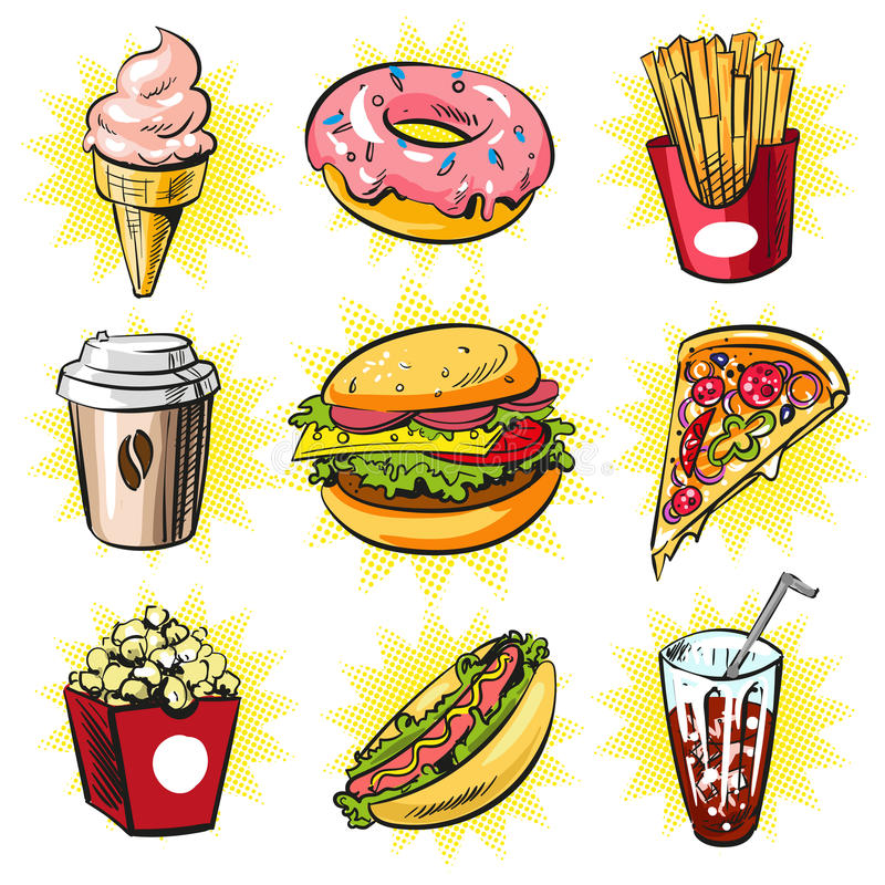 Grupo do pop art do vetor de remendos na moda do fast food, crachás ilustração stock