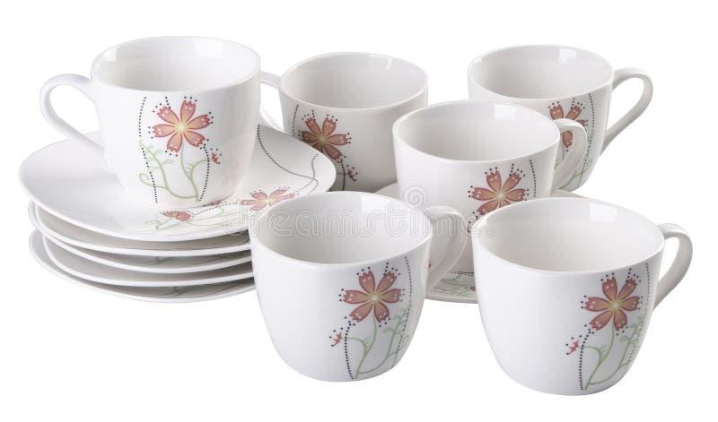 Grupo do potenciômetro do chá, de chá da porcelana potenciômetro e copo no fundo branco imagens de stock
