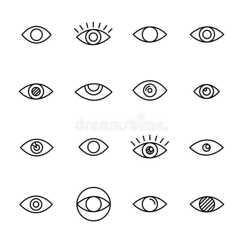 Grupo do prêmio de linha ícones do olho ilustração do vetor