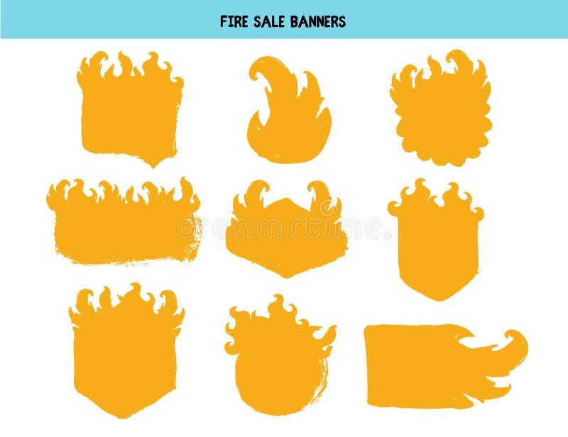 Grupo do preço da chama do fogo Carimbo de borracha no estilo do grunge Ilustra??o do vetor ilustração do vetor
