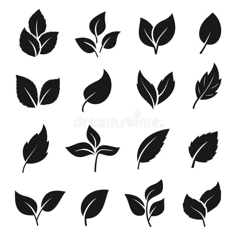 Grupo do preto da silhueta da folha, projeto do elemento da decoração ilustração stock