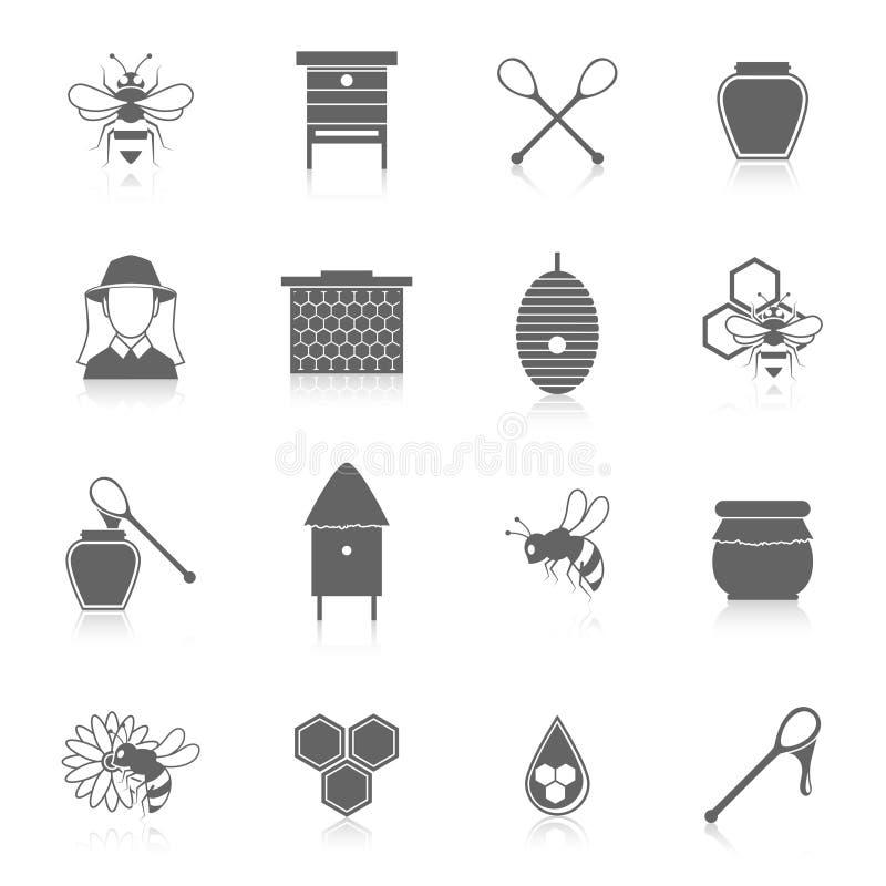 Grupo do preto dos ícones do mel da abelha ilustração do vetor