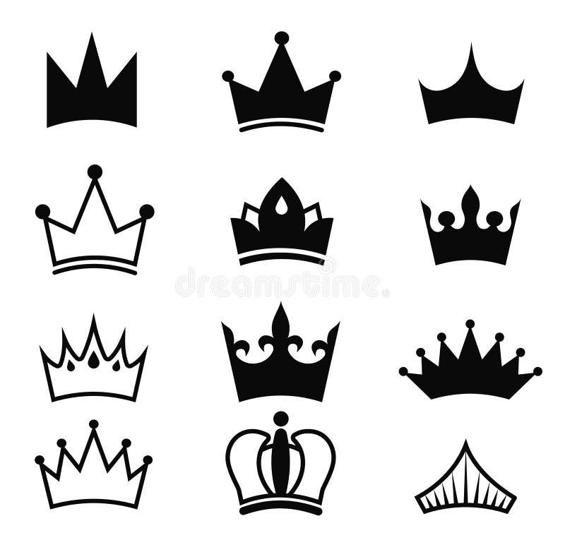 Grupo do preto do vetor da coroa Silhueta do rei isolada no fundo branco Coleção real dos ícones da coroa Artigo do estado alto E ilustração royalty free