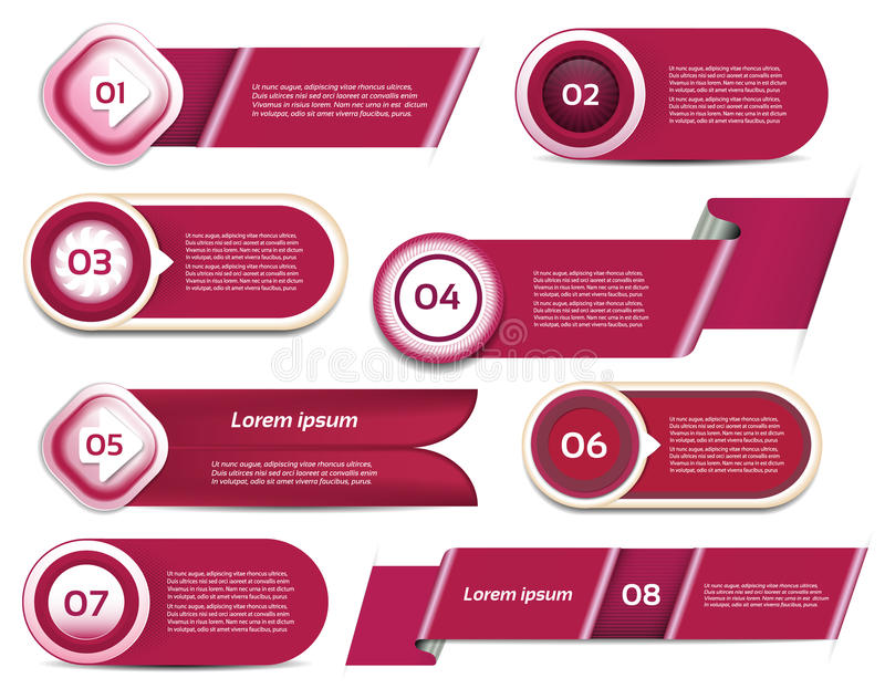 Grupo do progresso vermelho-violeta do vetor, versão, ícones da etapa ilustração do vetor