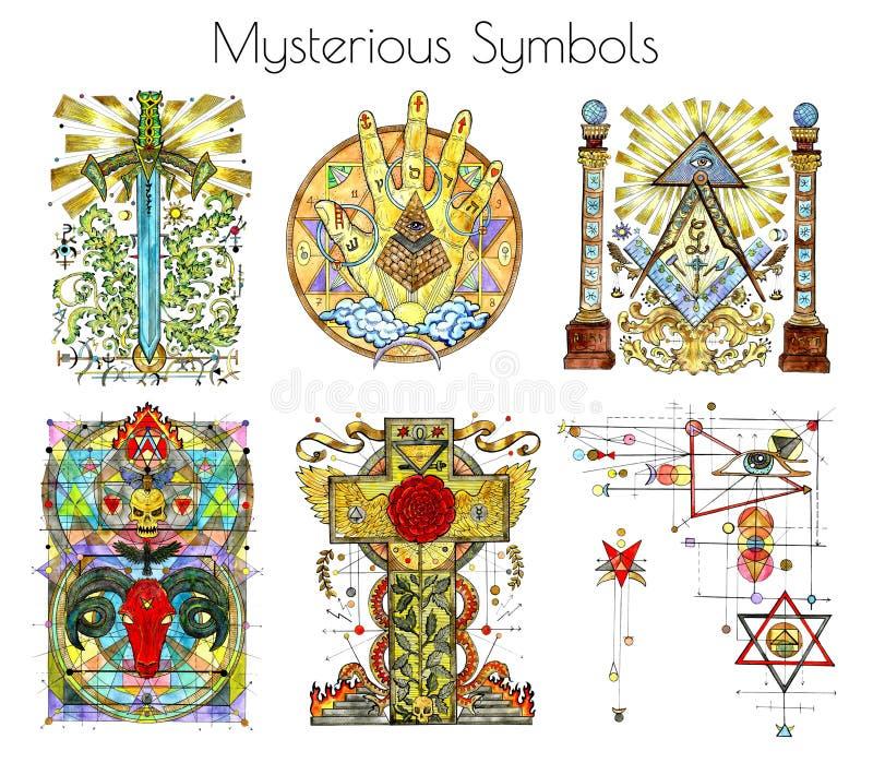 Grupo do projeto com as ilustrações da aquarela de símbolos misteriosos e religiosos isoladas no branco ilustração royalty free