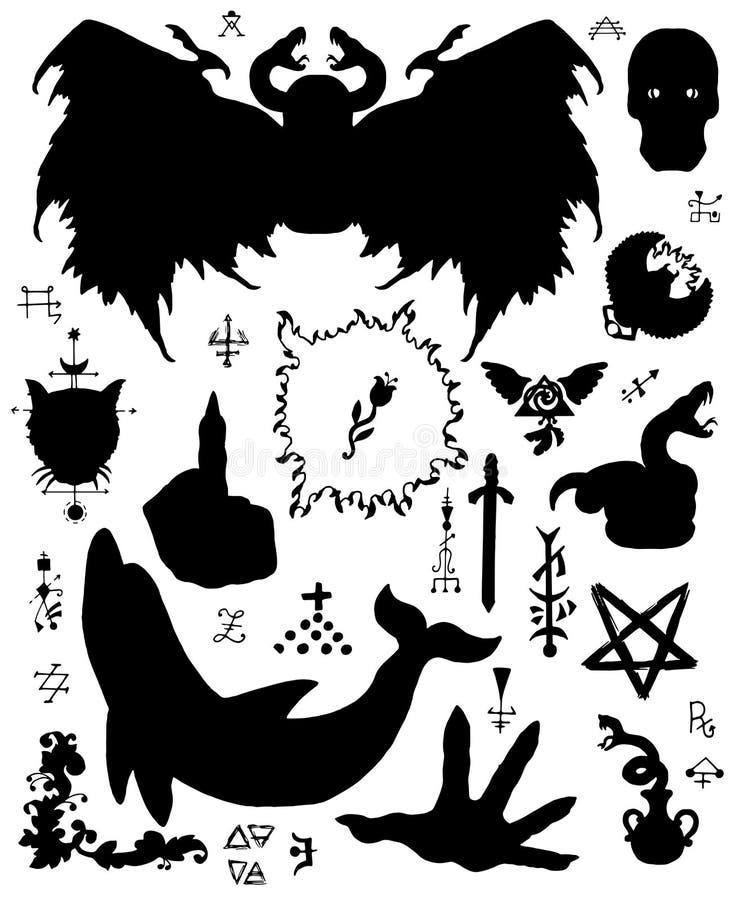 Grupo do projeto com as silhuetas do demônio voado, do golfinho, do pentagram e de símbolos místicos ilustração royalty free