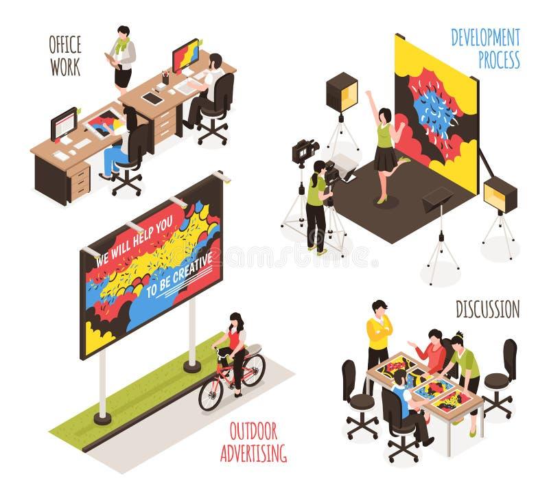 Grupo do projeto da agência de propaganda ilustração do vetor