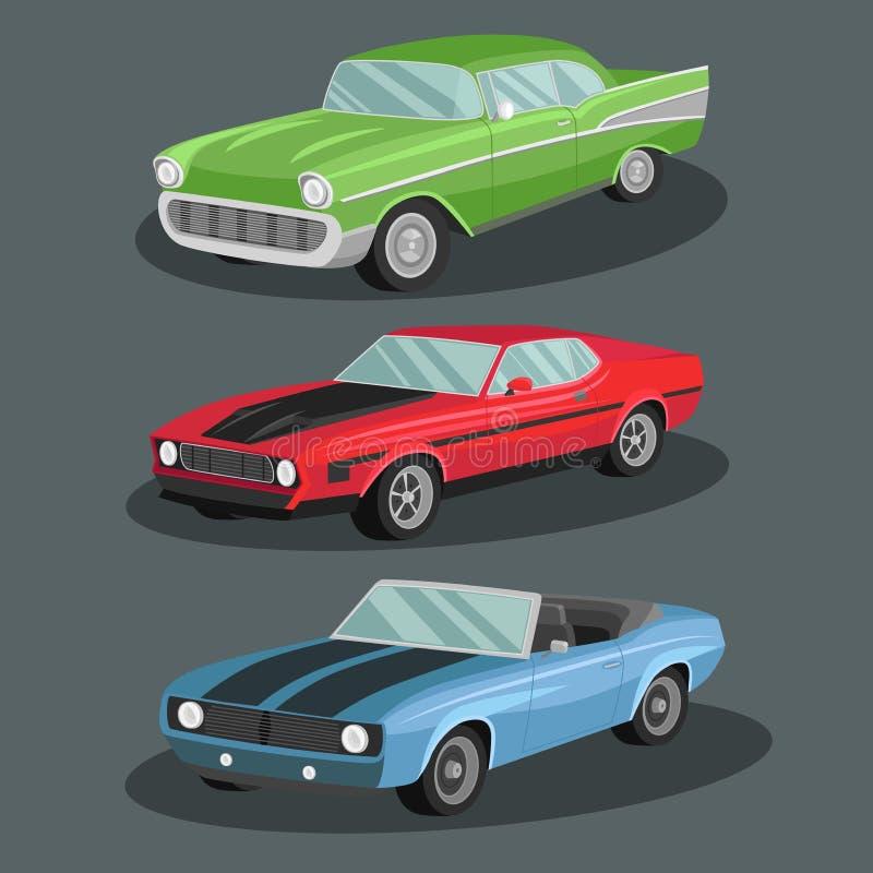 Grupo do projeto da imagem dos carros do vetor do vintage imagem de stock royalty free