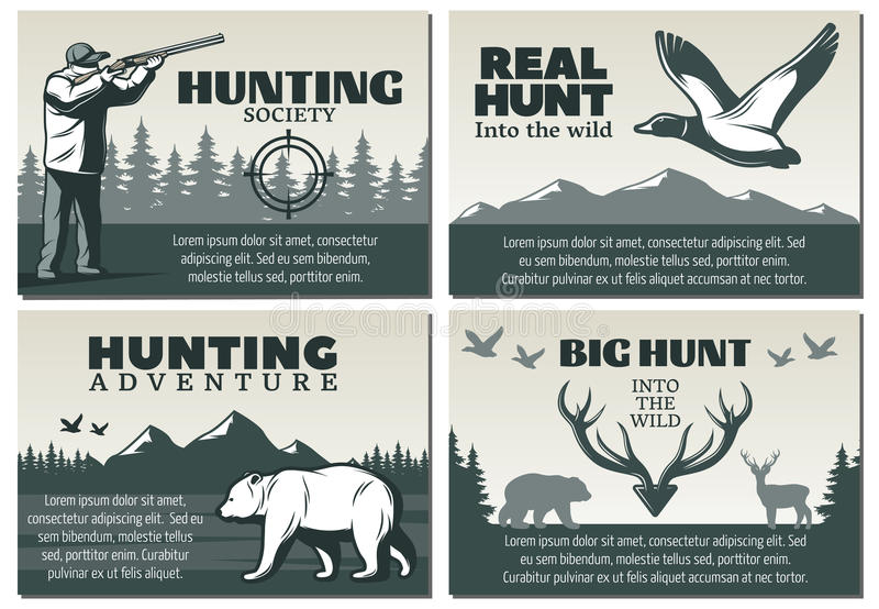 Grupo do projeto da sociedade da caça ilustração stock
