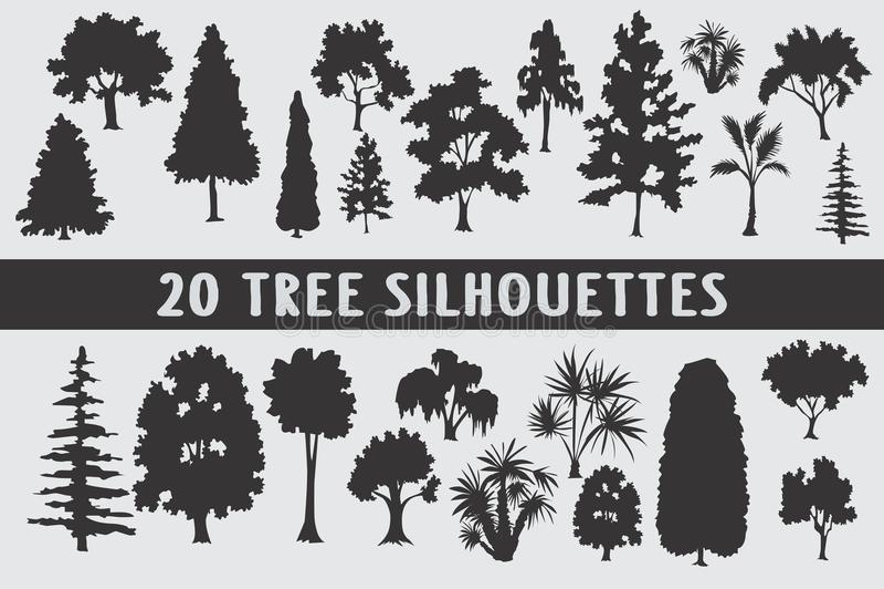 Grupo do projeto de 20 silhuetas das árvores vário fotos de stock royalty free