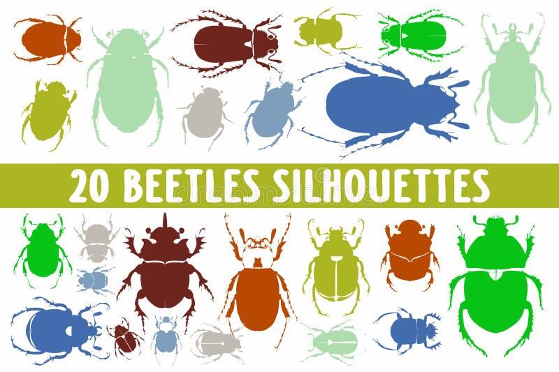 Grupo do projeto de 20 silhuetas dos besouros vário imagens de stock royalty free