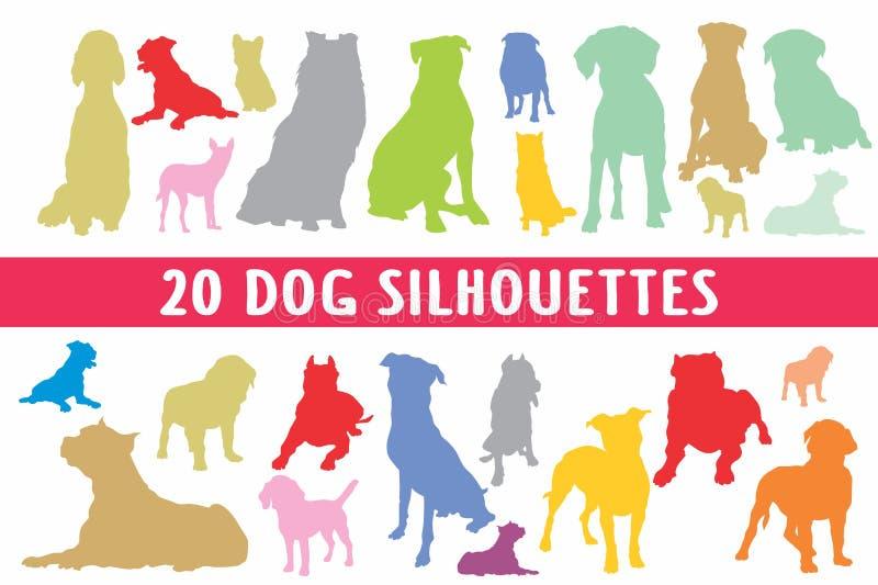 Grupo do projeto de 20 silhuetas dos cães vário foto de stock royalty free