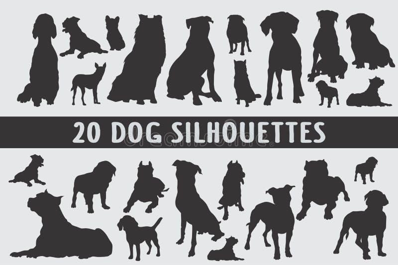 Grupo do projeto de 20 silhuetas dos cães vário fotografia de stock