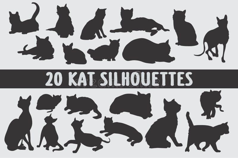 Grupo do projeto de 20 silhuetas dos gatos vário imagens de stock royalty free