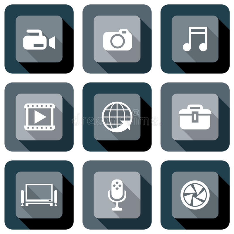 Grupo do projeto do ícone dos multimédios ilustração stock