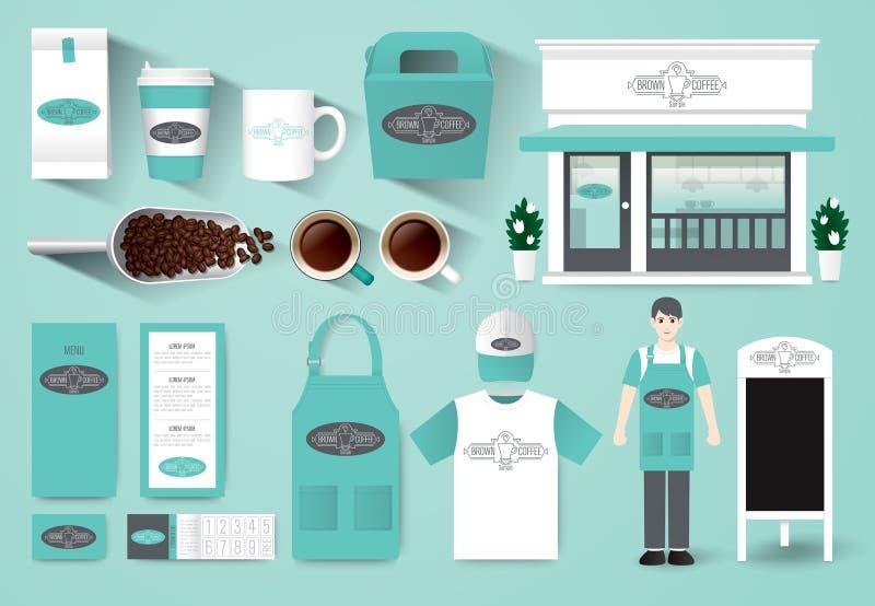 Grupo do projeto do café do restaurante do vetor, projeto da loja ilustração do vetor