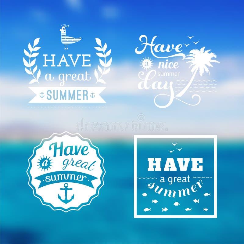 Grupo do projeto do curso de logotipo das férias de verão Contexto do oceano Vetor editable borrado Etiqueta da tipografia, rotul ilustração do vetor