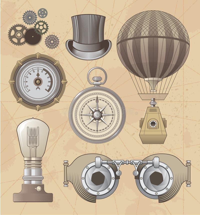 Grupo do projeto do vetor de Steampunk do vintage ilustração do vetor