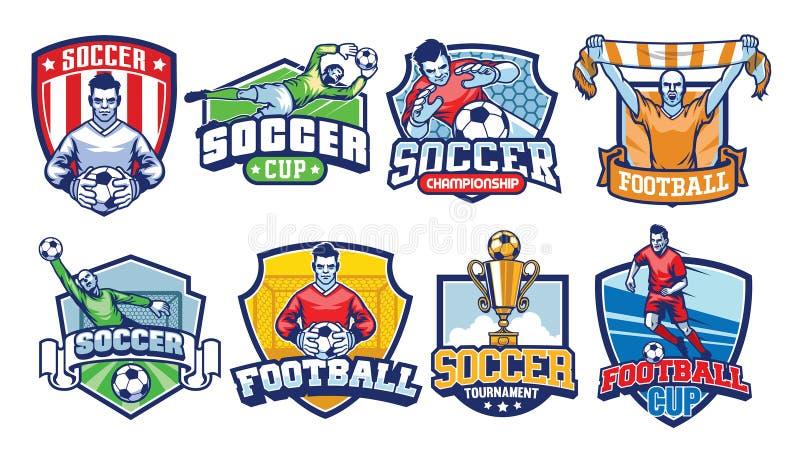 Grupo do projeto dos crachás do futebol ilustração stock