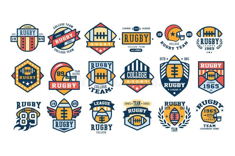 Grupo do projeto do logotipo da equipe do rugby da faculdade, emblema retro do esporte, etiqueta, ilustrações do vetor do crachá ilustração stock