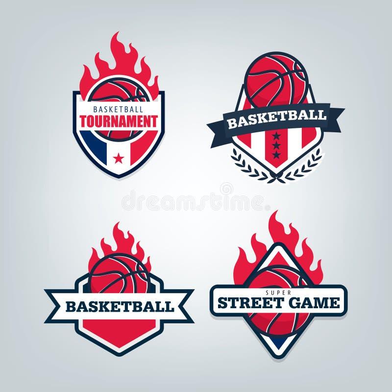 Grupo do projeto do logotipo do esporte do basquetebol, ilustração do vetor ilustração stock