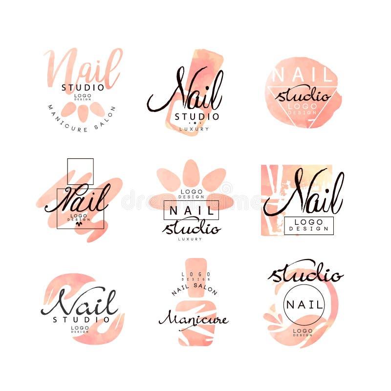 Grupo do projeto do logotipo do estúdio do prego do tratamento de mãos, moldes criativos para a barra de prego, bar da beleza, ve ilustração do vetor