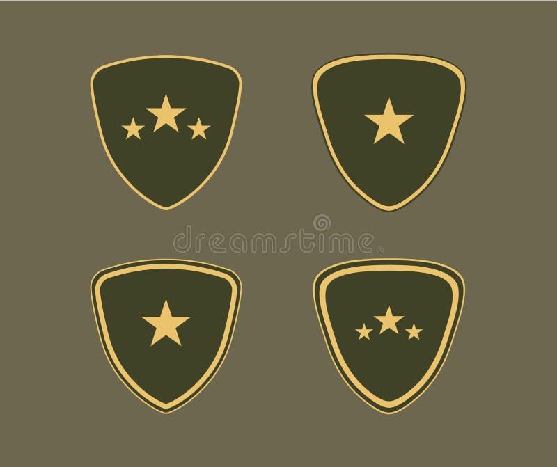 Grupo do protetor do exército Sinais do emblema isolados no fundo escuro Símbolo militar da segurança, poder, proteção ilustração royalty free