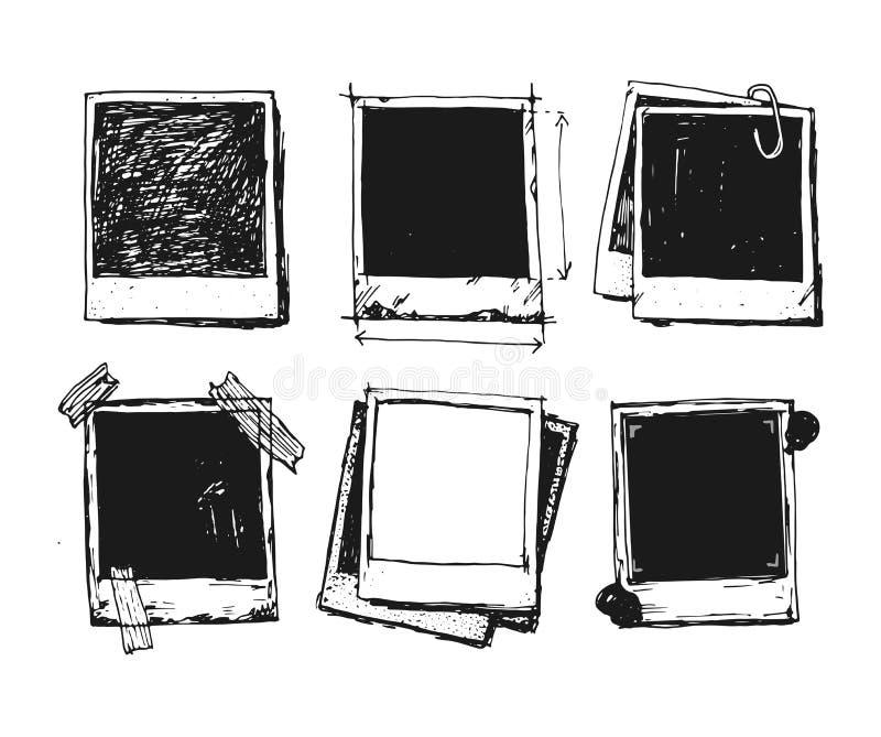 Grupo do quadro da foto do desenho do vintage foto de stock