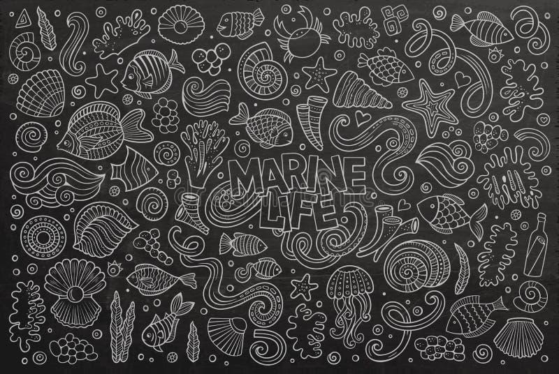 Grupo do quadro de objetos da vida marinha ilustração stock
