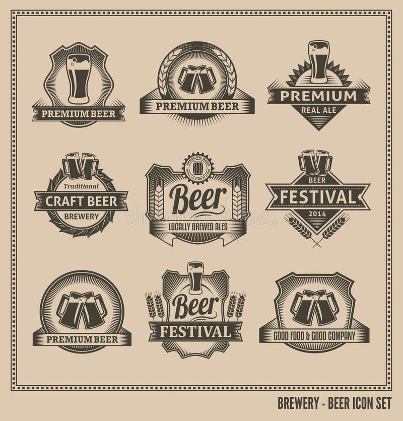 Grupo do quadro do ícone da cerveja ilustração stock