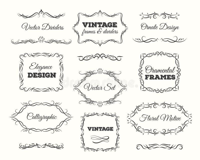 Grupo do quadro do vintage Quadros ornamentado e elementos do rolo Divisores caligráficos da página ilustração do vetor