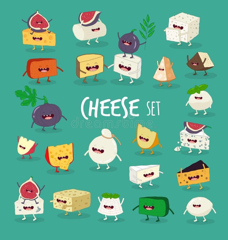 Grupo do queijo ilustração stock