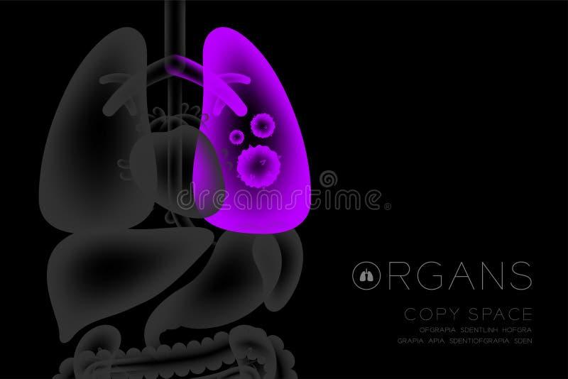 Grupo do raio X dos órgãos humanos, cor do roxo da ideia do conceito da infecção do pulmão ilustração royalty free