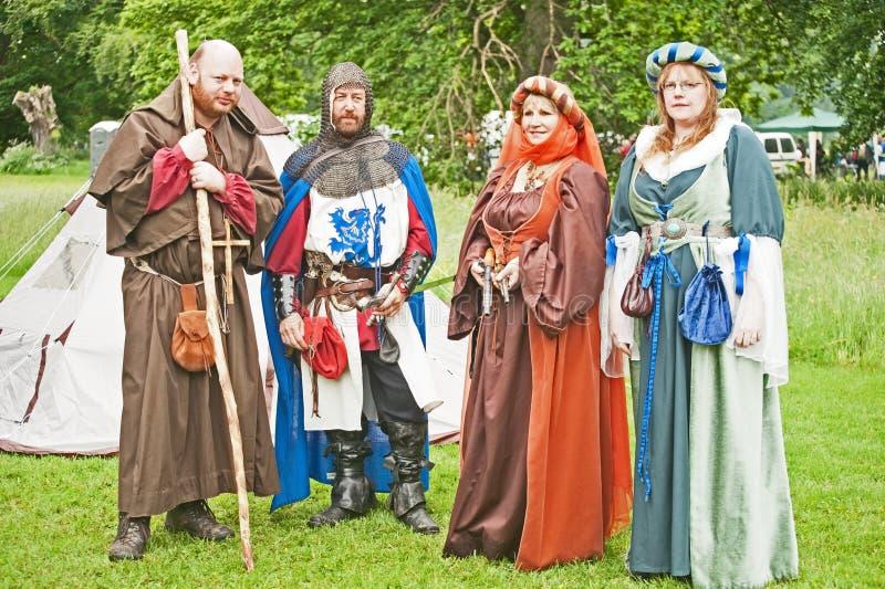 Grupo do re-enactment do campo de batalha no castelo de Brodie fotos de stock royalty free