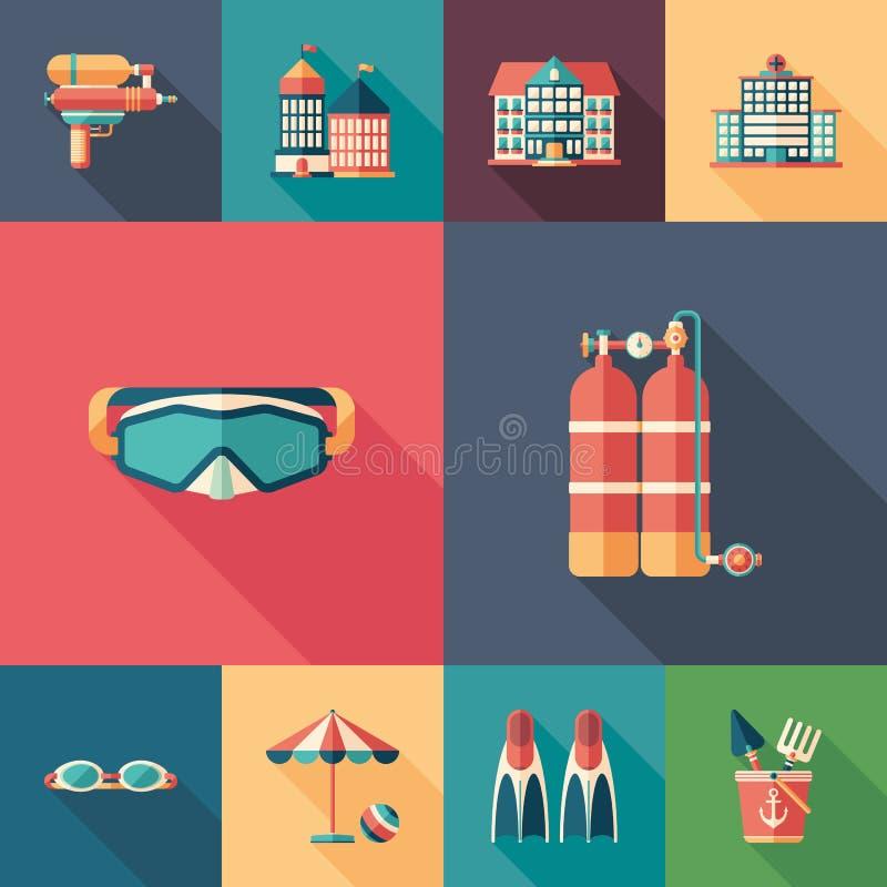 Grupo do resto do verão de ícones quadrados lisos com sombras longas ilustração royalty free