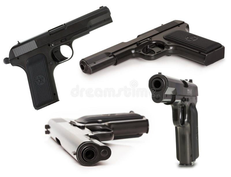 Grupo do revólver soviético TT (Tula, Tokarev) isolado no b branco fotos de stock royalty free