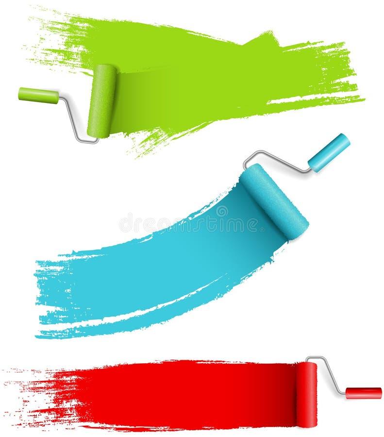 Grupo do rolo de pintura com vetor isolado colorido da pintura da parede ilustração royalty free