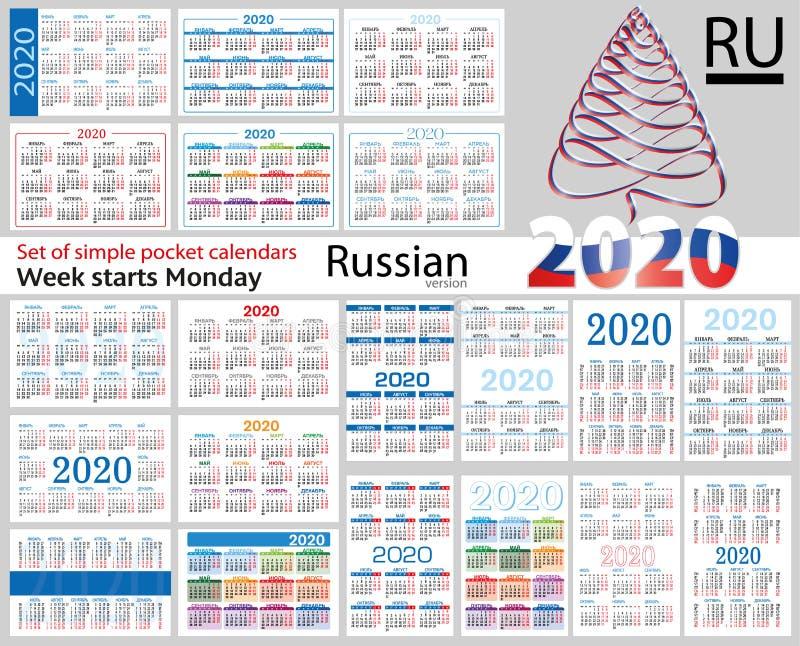 Grupo do russo de calendários do bolso para 2020 ilustração stock