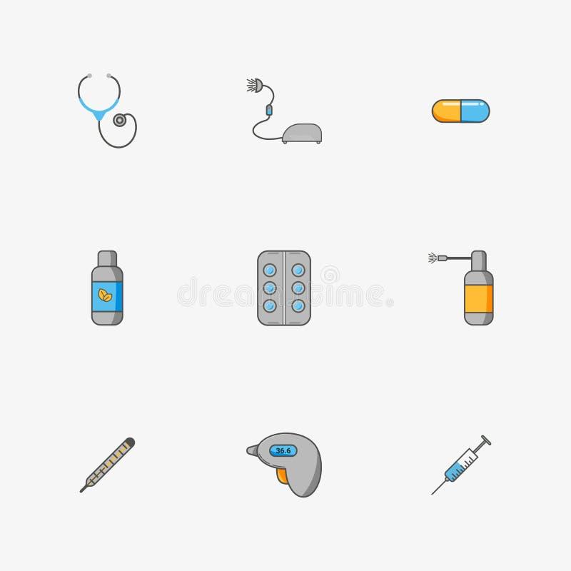 Grupo do ` s do doutor de ícones simples para tratar doenças tais como a gripe e o frio ilustração stock