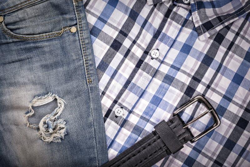Grupo do ` s dos homens, roupa, forma, projeto, roupa, vaqueiro ajustado da roupa do ` s dos homens imagem de stock