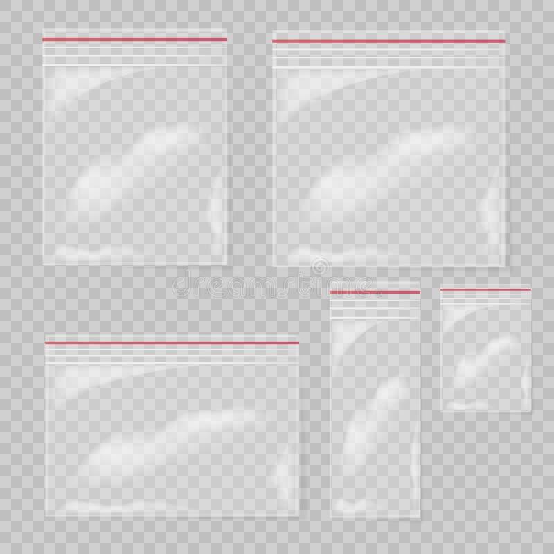 Grupo do saco de plástico isolado no fundo transparente Sacos plásticos transparentes vazios do bolso da coleção ilustração stock