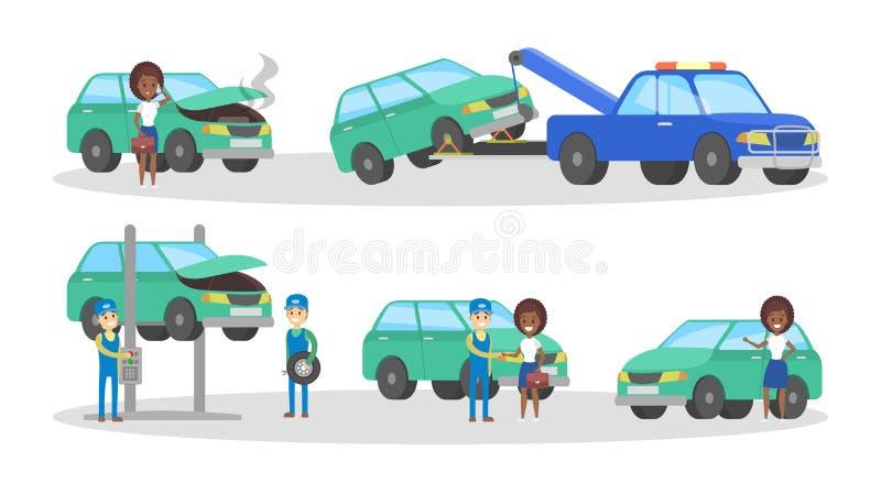 Grupo do serviço do carro Os mecânicos reparam automóvel quebrado ilustração stock