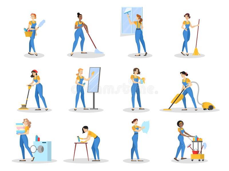 Grupo do servi?o da limpeza Coleção da mulher no uniforme ilustração royalty free