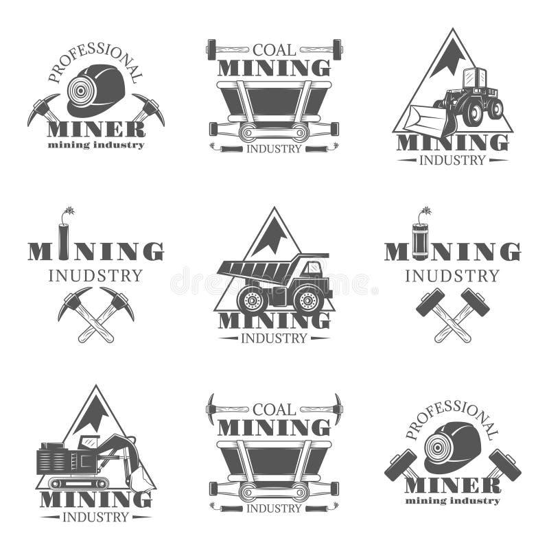 Grupo do setor mineiro de emblemas, de etiquetas, de crachás e de logotipos monocromáticos do vintage do vetor isolados no fundo  ilustração stock