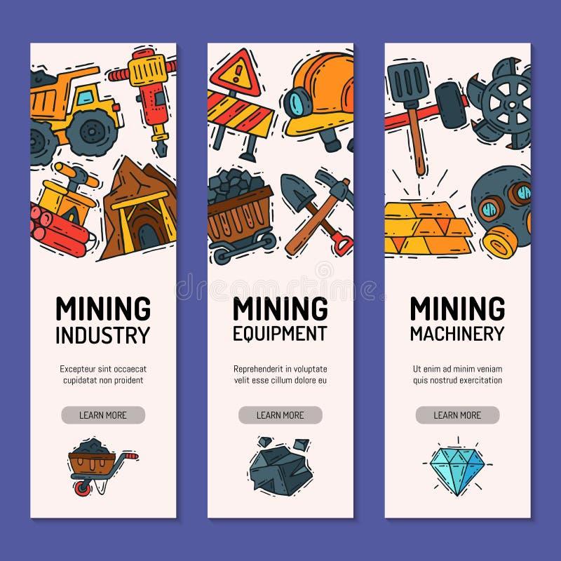 Grupo do setor mineiro de ilustra??o do vetor das bandeiras Profiss?o e ocupa??o Equipamento carbonoso, ferramentas do mineiro ilustração do vetor