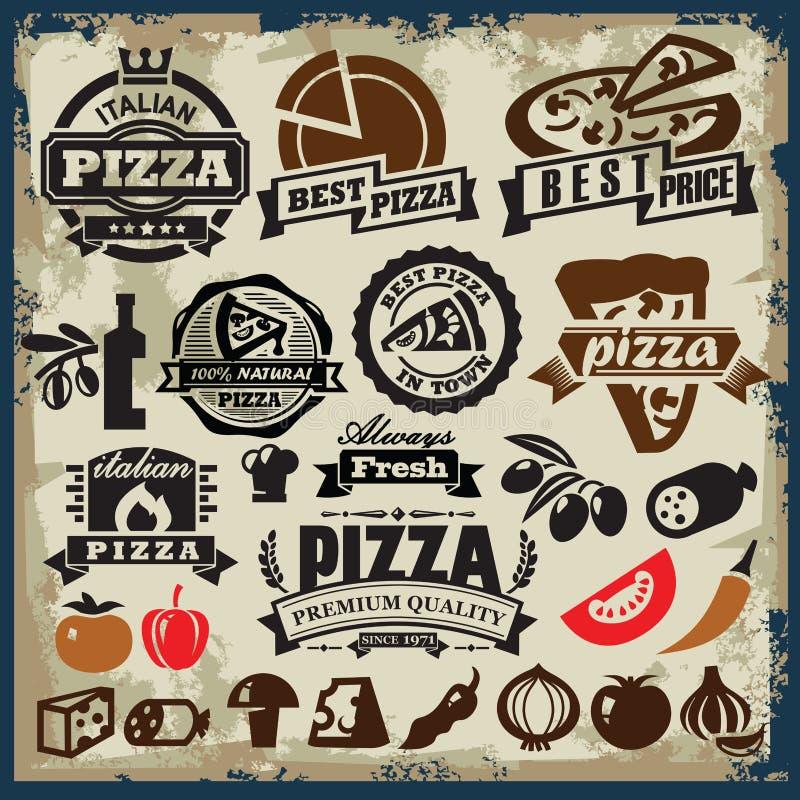 Grupo do sinal da pizza ilustração stock
