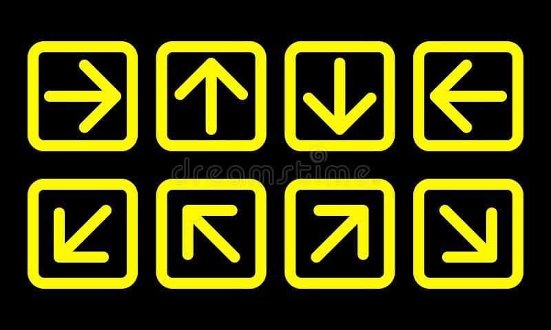 Grupo do sinal de sentido da seta, linha fina amarela quadrados no preto ilustração stock