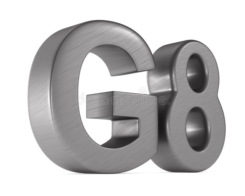 Grupo do sinal G8 no fundo branco Ilustra??o 3d isolada ilustração stock