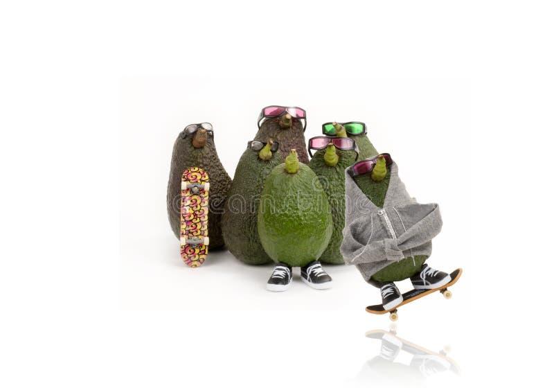 Grupo do skate do abacate imagem de stock
